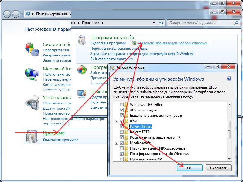 Встановлення telnet-клієнта в Windows 7