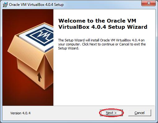 Інсталяція VirtualBox: вікно привітання