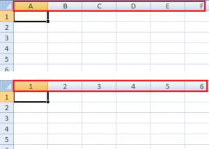 Відображення стовпчиків в Excel 2007 цифрами та літерами