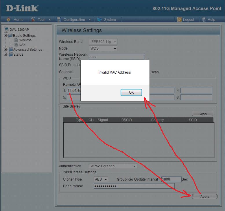 Помилка Invalid MAC Address при спробі прописати MAC-адресу в налаштуваннях точки доступу D-Link DWL-3200AP
